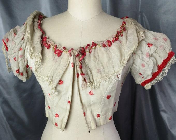 Victorian bodice, lace and velvet, floral antique corset bodice, boned