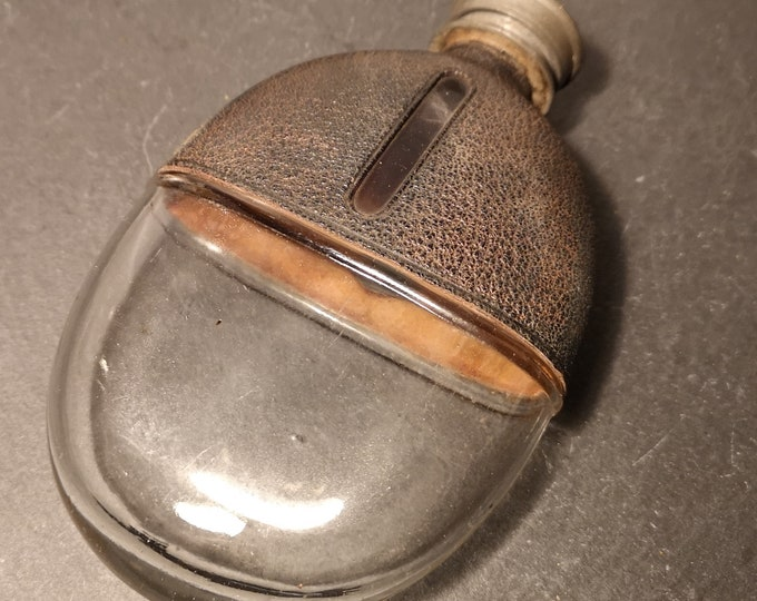 Antique hip flask, leather covered glass, Victorian, rustic hip flask, James Dixon, pocket flask