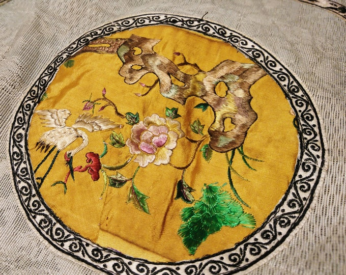 Antique chinese embroidered picture / placemat / hand embroidered