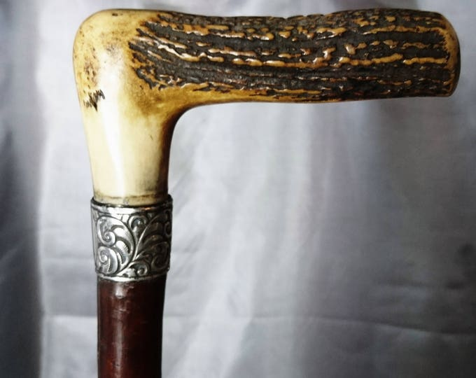 Victorian walking cane, antique deer antler and sterling silver walking stick