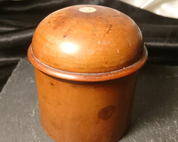 Antique Treen powder pot, boxwood, mother of pearl inlay, lidded pot