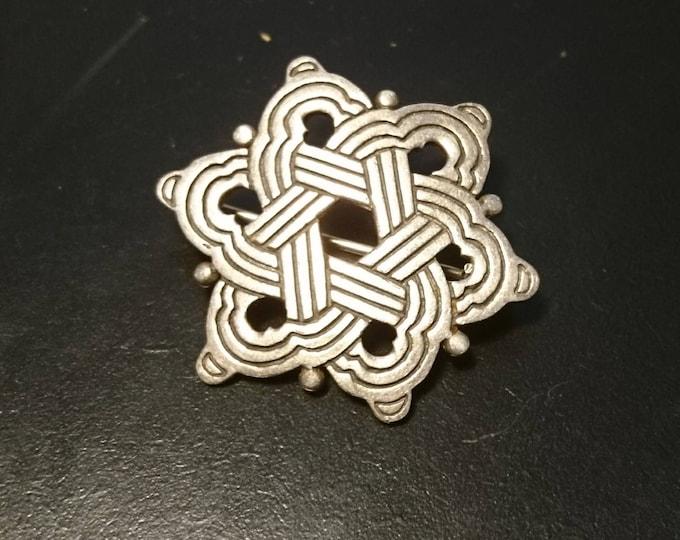 Vintage 20's celtic silver brooch, sterling silver art deco pin