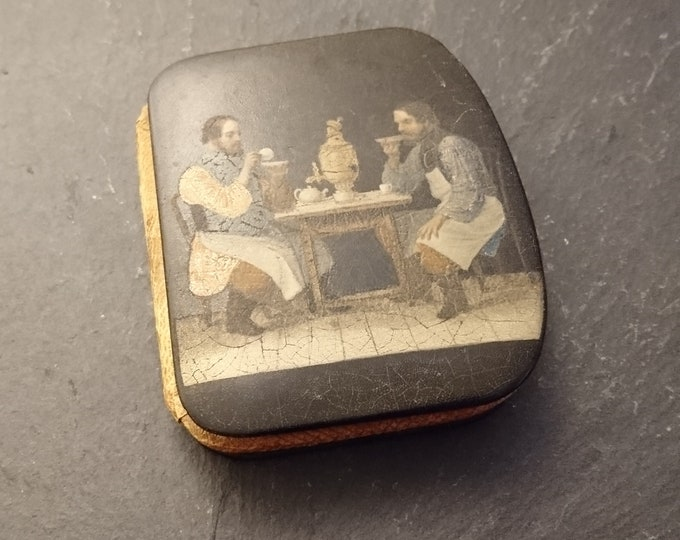 Rare antique purse, papier mache, early Victorian purse, men drinking tea