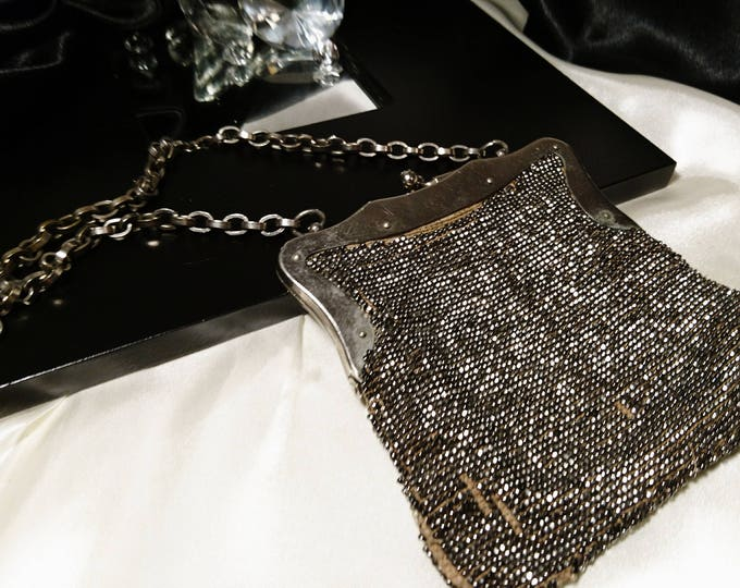 1920's marcasite chain purse, vintage art deco silver tone evening bag