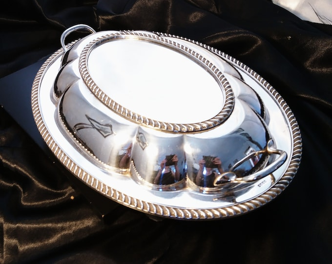 Antique silver plated entrée dish, serving dish, late Victorian
