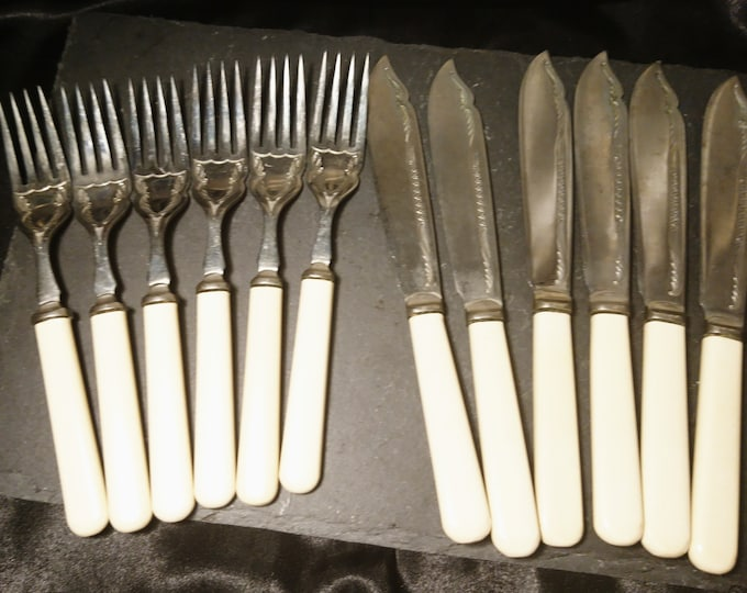 Antique cutlery set, silver plated, dessert forks and knives, antique flatware, 12pcs