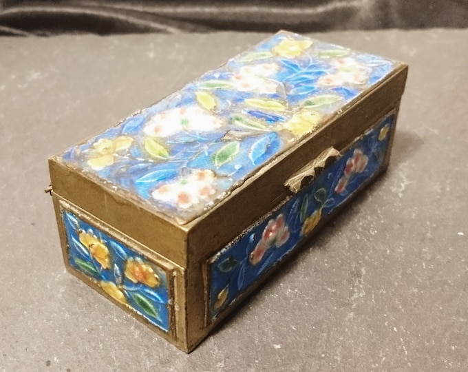 Vintage stamp box, Chinese cloisonné enamel and brass, stamp box, 1920's