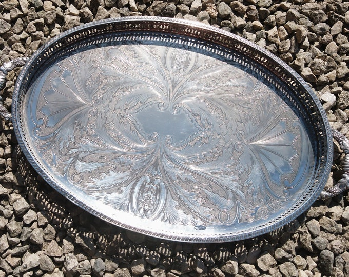 Large vintage silver plated gallery tray, oval, handled, chased design, butlers tray, serving tray