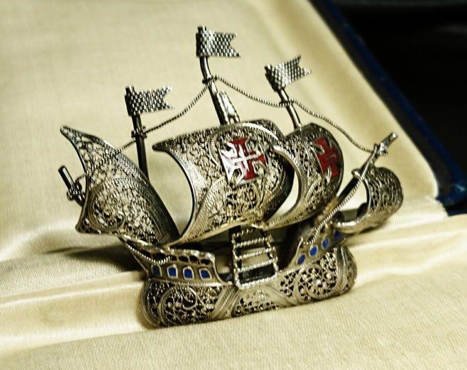 Vintage silver and enamel galleon brooch, filigree, wirework, sterling silver ship brooch