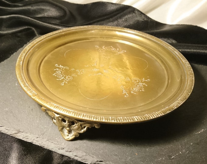 Antique brass card waiter, Georgian card tray, distressed metalware