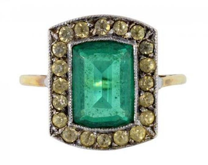 Antique Georgian 15ct gold and paste stone ring, emerald green and white paste, antique rings