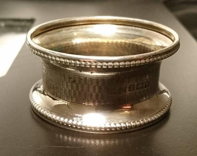 Antique sterling silver napkin ring, fully hallmarked, attractive design, fluted rim, 1913, napkin holder