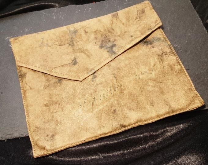 Antique leather handkerchief case, gorgeous marbled leather, super soft, hankie case