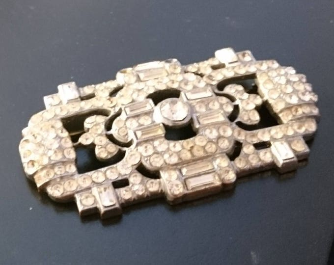 Vintage diamanté brooch, Art deco silver tone, 1920's large vintage brooch