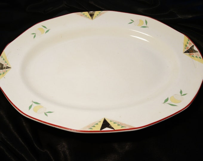 Vintage 30's serving platter / meat plate, art deco design, dated Empire Ware, Ivory Glaze