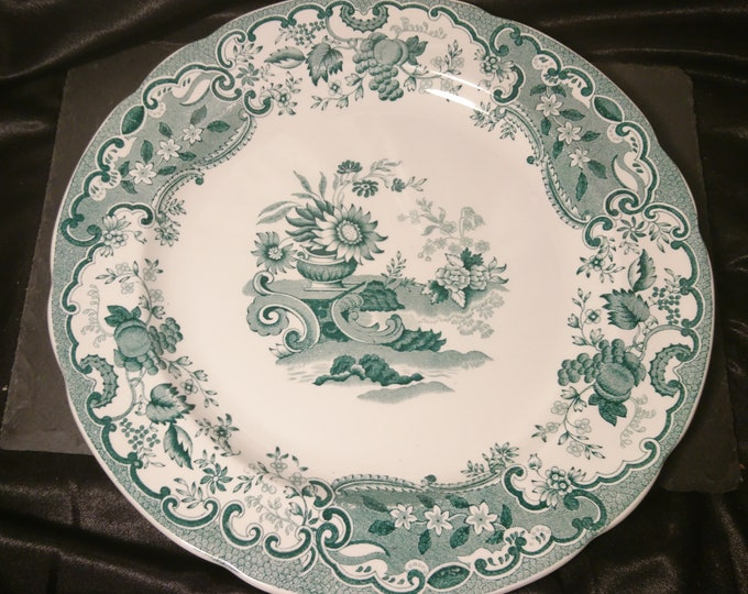 Antique transferware plate, green and white, Copeland Late Spode, May Rd No204192, Victorian era Chinoiserie