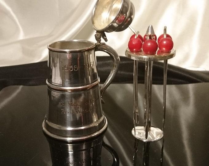 Vintage silver plated cocktail companion, 18th century style tankard, vintage barware, cherry cocktail sticks