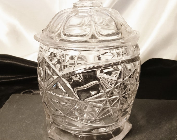 Victorian glass bon bon dish, antique lidded glass jar