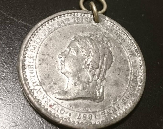 Victorian commemorative coin pendant, queen Victoria 1887 jubilee, English antique