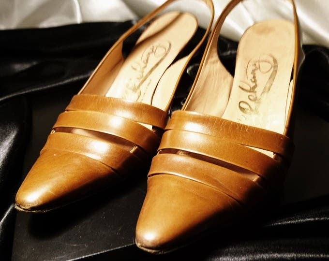 Vintage shoes, 50's slingback heels, Italian leather, tan leather strap detail slingback heels