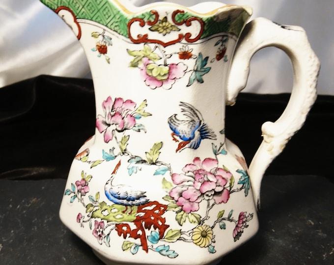 Antique ceramic jug / pitcher, Allertons, Burmese pattern, chinoiserie jug