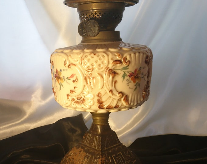 Victorian oil lamp, enameled milk glass, cast iron, duplex double burner oil lamp