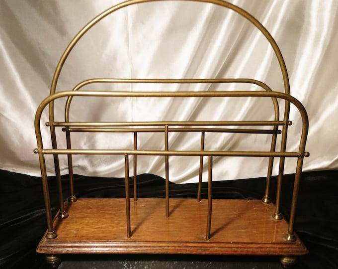 Antique English magazine rack, Edwardian, oak and brass, periodical rack, newspaper stand