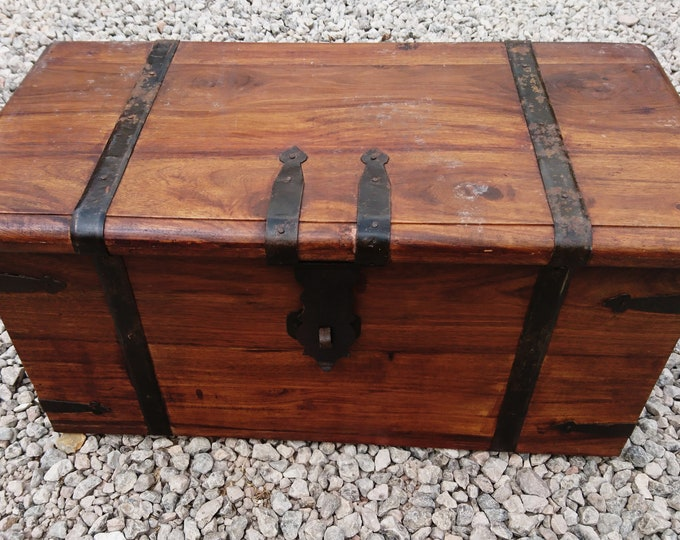 Antique trunk, iron bound, wooden storage chest, travel trunk