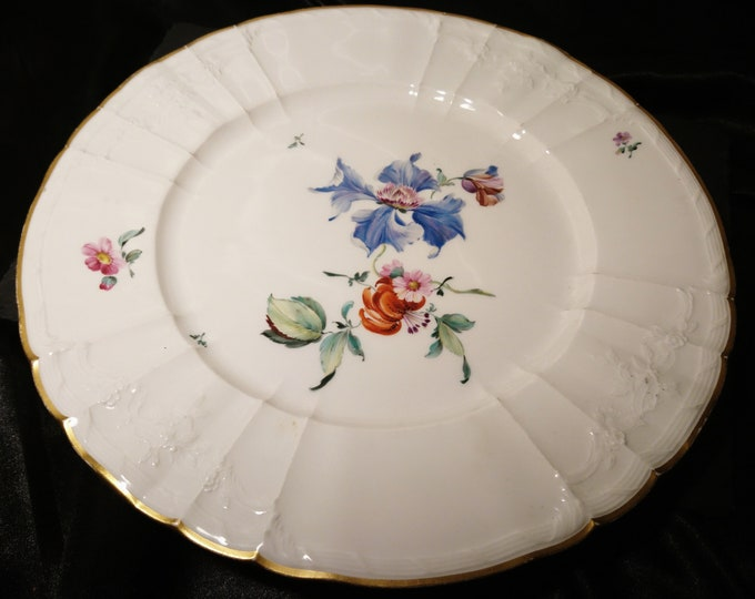 Antique plate, KPM Berlin, German porcelain plate, hand painted floral, dinnerware, 19th century ceramics