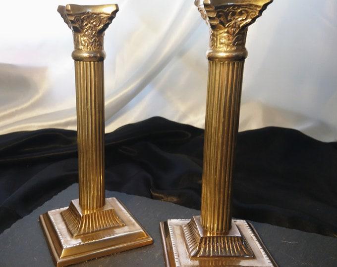 Victorian corinthian brass candlesticks, old home decor, candle holder, rustic brass candlesticks