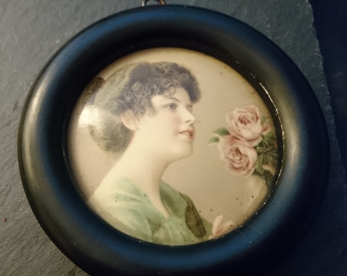 Antique celluloid portrait picture, small circular antique print, lady and roses, ebonised frame