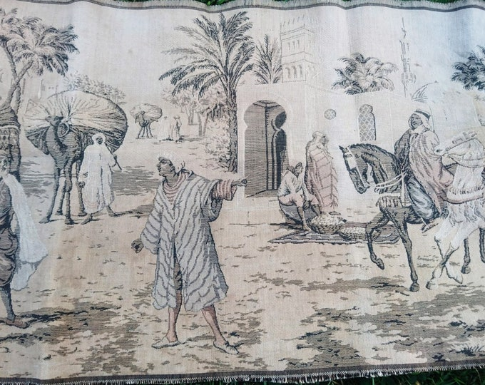 Antique Egyptian tapestry, runner rug, town scene, Wall hangings, rustic bohemian decor
