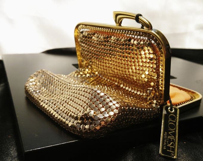 Vintage gold mesh evening bag, glomesh brand, chain mail purse, as new vintage