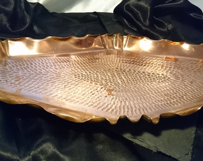 Antique copper tray, large arts and crafts copper platter, hand hammered, rustic decor