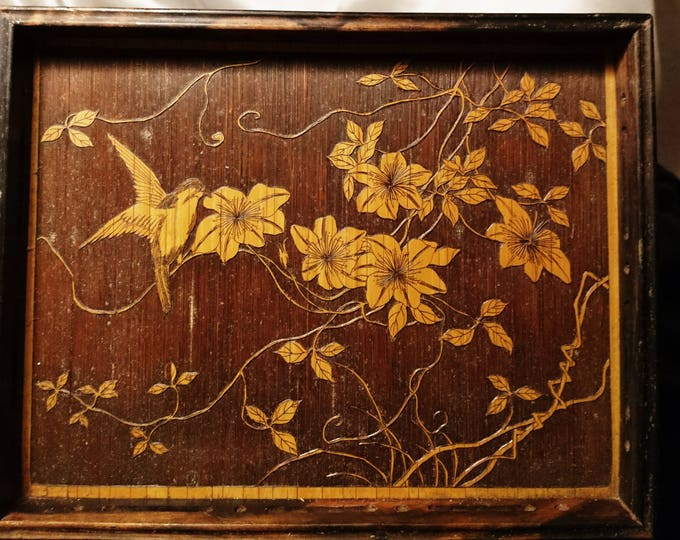 Antique carved pyrography picture tray, bird and foliage, lacquered chinoiserie
