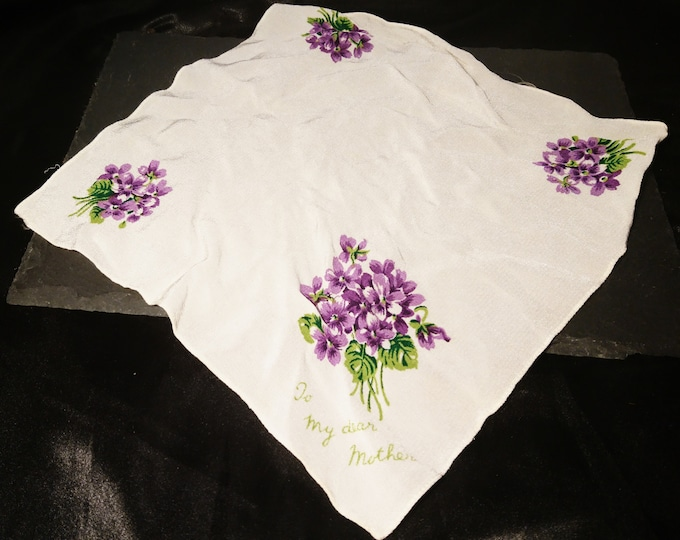 1940's silk chiffon handkerchief, WW2, mother handkerchief