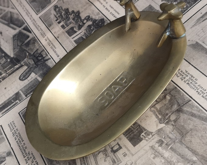 Vintage brass soap dish, bath shaped soap dish, kitsch, mid century