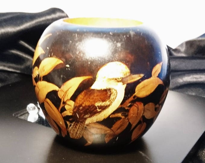 Unusual Antique lacquerware and ebonised brush pot, kingfisher bird and leaf design, brush pot, chinoiserie