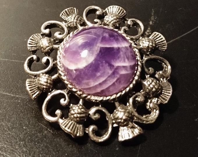 Vintage Scottish thistle brooch, purple agate, gunmetal grey metal