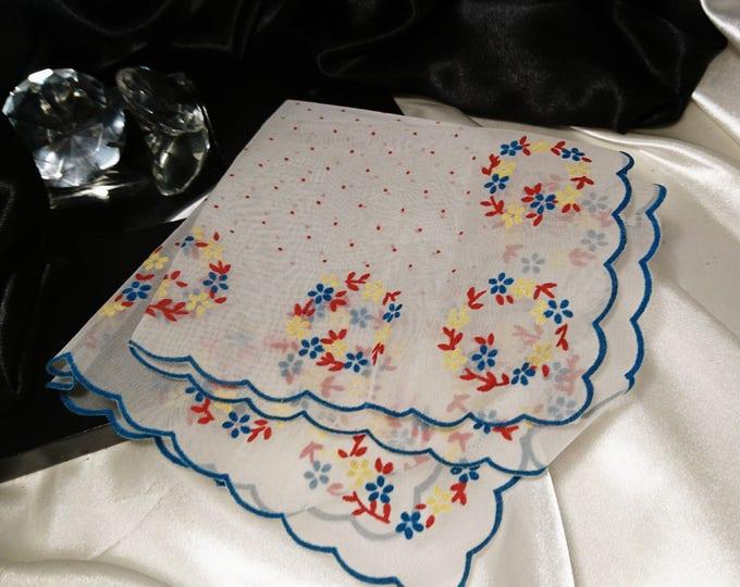 Pretty 1940's vintage chiffon handkerchief, embroidered detail vintage ladies hanky