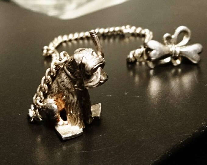 Novelty vintage silver dog charm, chatelaine charm / watch chain / sash clip, scuba diving terrier, fine Russian silver