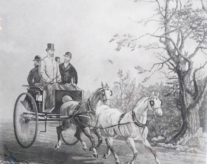 Antique Engraving, horses and riders print, The Tandem Hester after Alken, 1878 McQueen