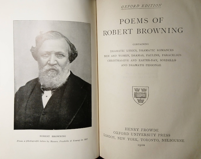 Poetical works of Browning, 1910, The Oxford Edition, antique poetry books