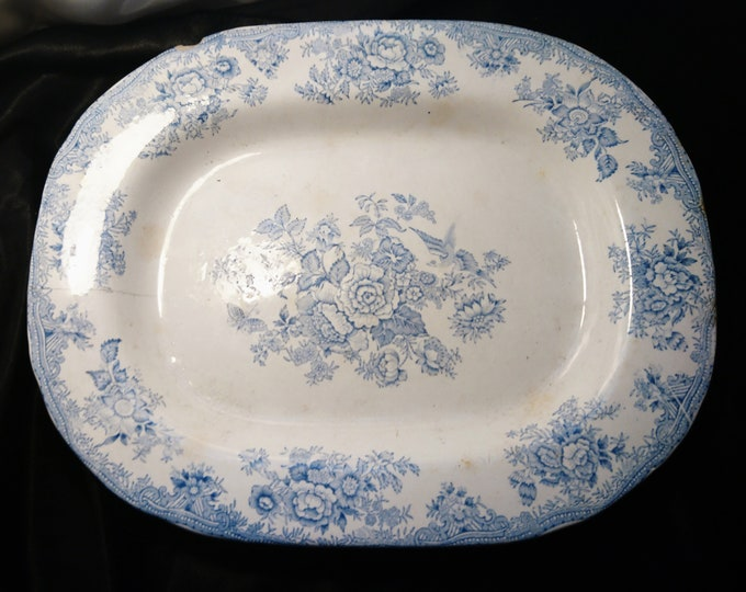 Large antique meat platter / plate 18th century Chinese Export, Blue and White