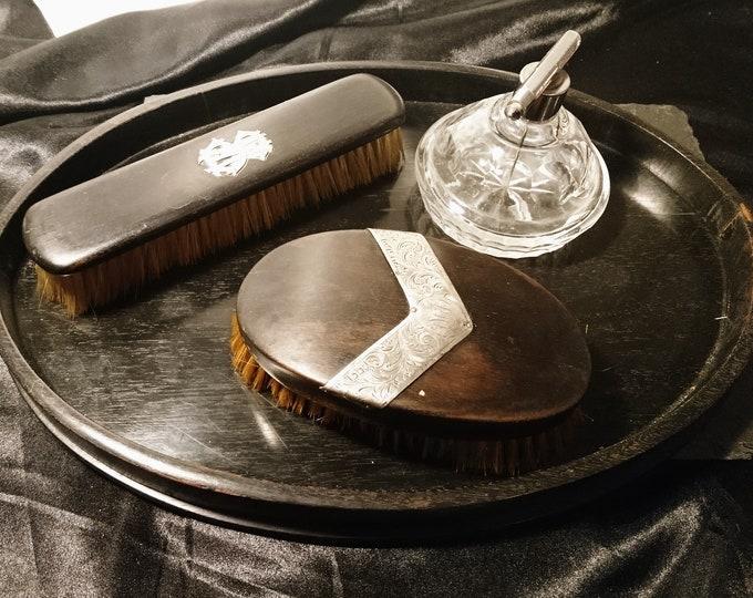 Men's antique vanity set, ebony and silver, tray, brushes, aftershave, Edwardian