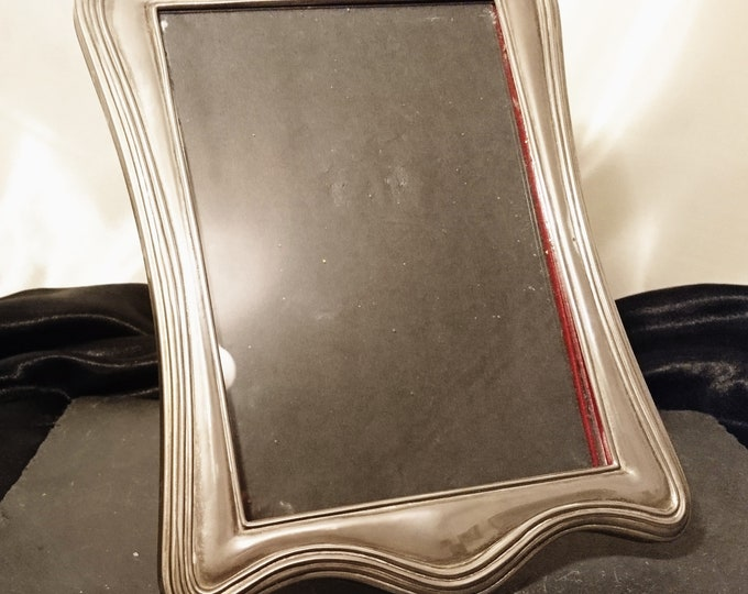 Antique silver plated photo frame, red velour, Edwardian era, picture frame, shabby chic