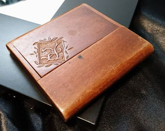 Business card cases vintage etsy uk antique card case calling card case monogrammed wooden card case reheart Choice Image