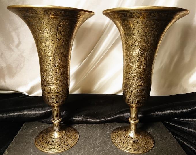 Vintage Indian brass vases, hand engraved, 1950's, Boho decor