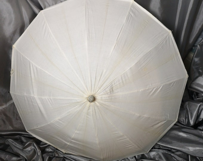 Vintage bathing parasol, beach umbrella, 20's white cotton, celluloid handle