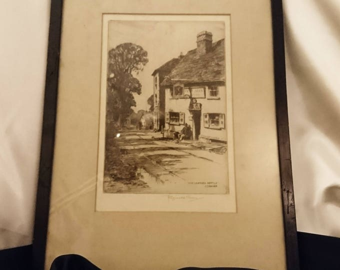 Antique fine art Etching, framed artwork by Reginald Green, The Leather Bottle Cobham, early 20th century, signed